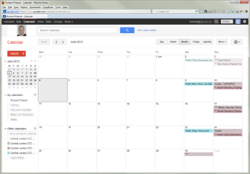 Screen shot of Google calendars